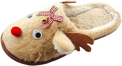 Holibanna Pantofole Natalizie Scarpe da Casa di Renna Sfocate per Le Donne Pantofole di Peluche Morbide Animali dei Cartoni Animati Scarpe da Casa Invernali