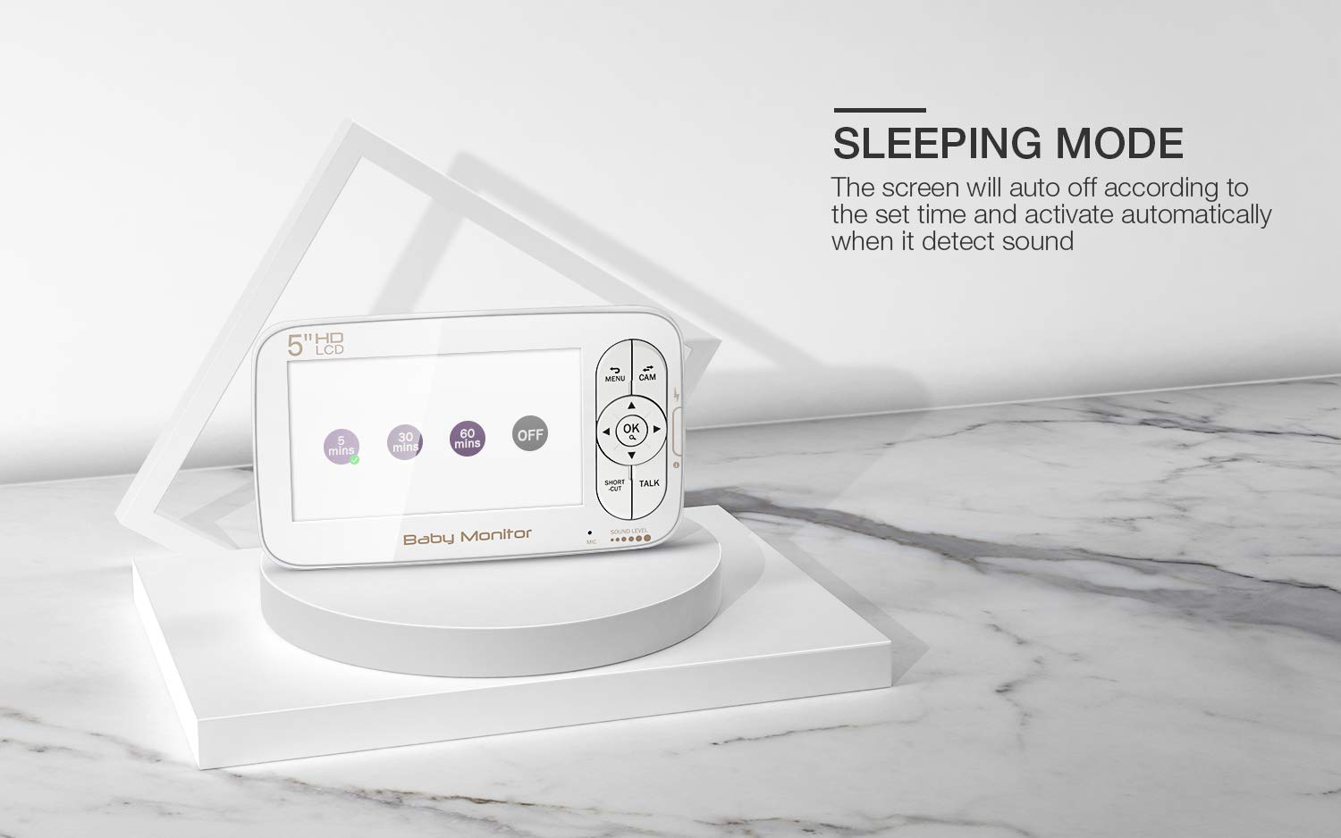 Baby Monitor, BOIFUN Baby Video Camera with 5'' 1280x720P HD Screen 2000mAh Rechargeable Battery with VOX Night Vision Temperature Monitor Two-Way Talk 355 Degree Remote Control Camera Baby/Elder/Pet BOIFUN Sleep Mode & Night Vision----In Sleep mode, The screen on the mother unit is black. Screen will light up when baby starts crying. Night vision distance is 5 meters, so you will never miss any moment of your baby, and it frees yourself from the hustle and bustle. You will be able to have your own time to read, watch TV, or even enjoy a couple of drinks with your husband. Bring you lots of fun. 2000mAh Battery----2000mAh high-capacity battery (mother unit), lasts up to 6 hours with full functions, and 20 hours in sleep mode, from testing results. Let you have longer time get rid of the shackles of the wires. Bring you longer time of fun. 300Meters Extra-Large Range----300m signal coverage area (outdoor test) allows you to cook happily downstairs, enjoy the sun in the pool, or even have a relaxing BBQ time with friends in terrace. Bring you bigger fun. 3