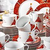 VEWEET, Serie Christmastree, 60-teilig Set Tafelservice, Geschirr Set für 12 Personen, Kaffeeservice für Weihnachten, Geschenk für VEWEET, Serie Christmastree, 60-teilig Set Tafelservice, Geschirr Set für 12 Personen, Kaffeeservice für Weihnachten, Geschenk