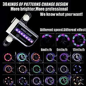 Bicicleta de Rueda LED Impermeable 14 Coloridas LED Rayos Luz de Bicicleta Nocturna Ultra Brillante Luces de Bicicleta 30 Cambios de Color Diferentes