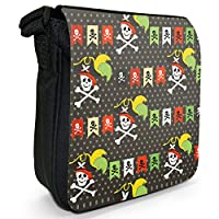 Pirate Mania With Treasure & Parrots Small Black Canvas Shoulder Bag - Size Small