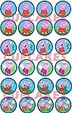 WFWD 24 Mini cialde in Ostia per Cupcakes Peppa Pig, George, cialda, Cup Cake, ostie, Torte, Topper, Dolci, Biscotti, Mis. diam. 4,5 cm