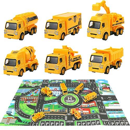 HERSITY 7 Pièces Vehicules de Chantier Jouet Camion de Construction avec Tapis de Jeu de Voiture Cadeau pour Enfant