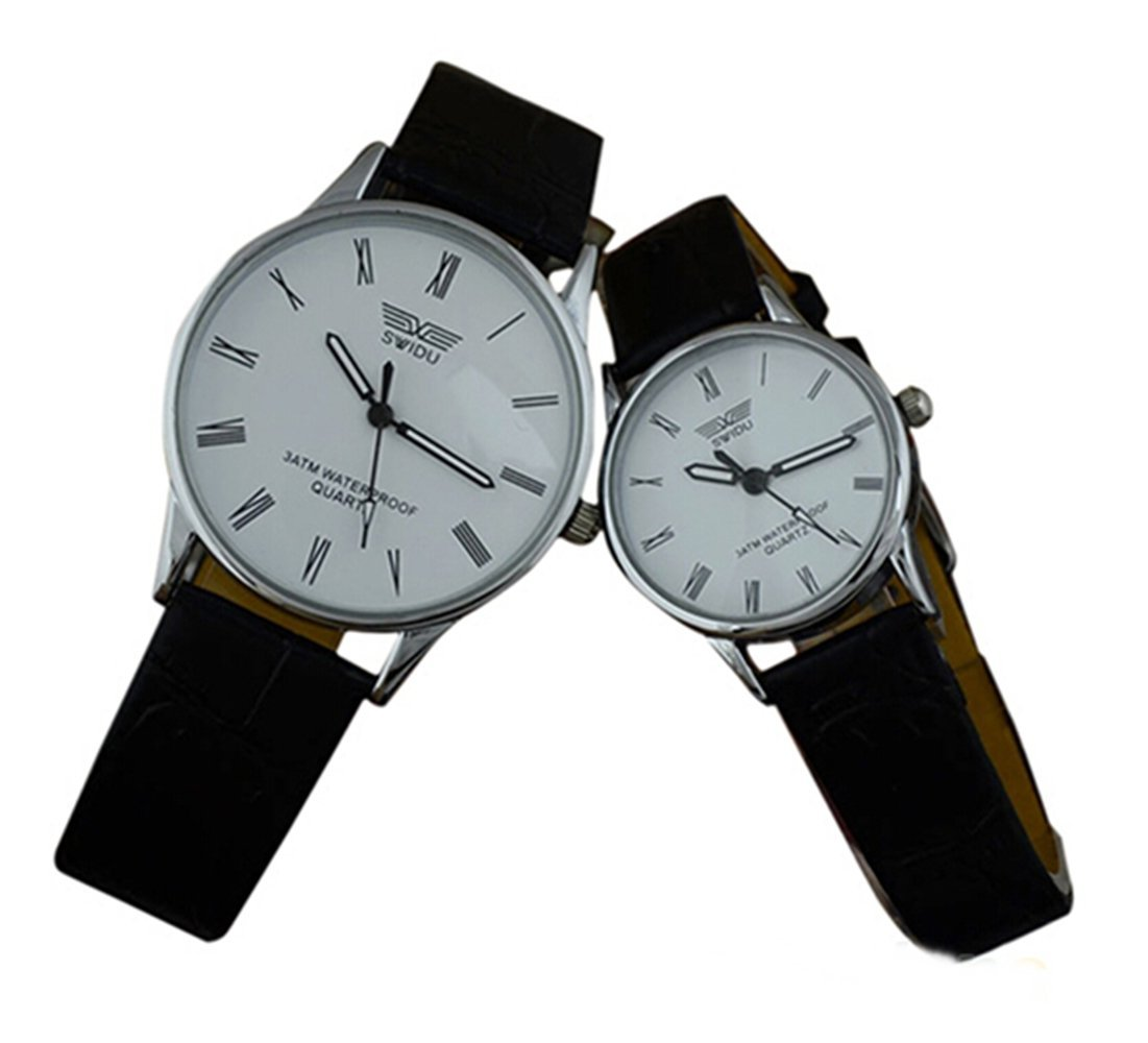 SSITG Paar Partneruhren Leder Armband Quarzuhr römische Ziffern Armbanduhr Geschenk schwarz + weiß
