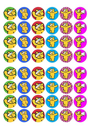 48-x-Pudsey-Bear-Children-In-Need-fairy-cake-toppers-printed-on-wafer-paper-Pre-Cut