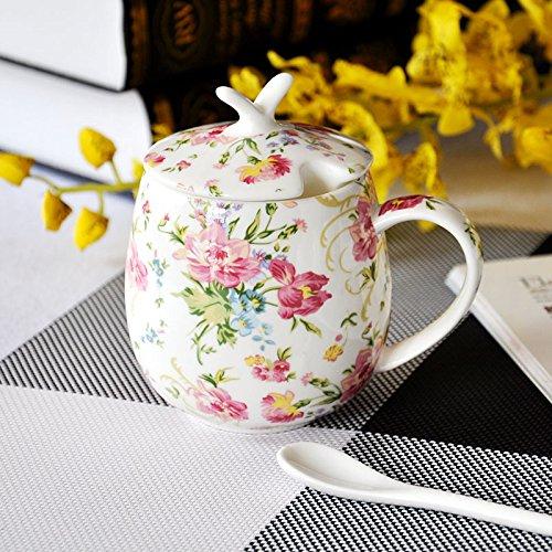 GGsmd Keramik - Cup Knochen Porzellan Unter Wasser - Cup Kreative Keramische Paar Cup Cup Mark - Cup,Blumen Blühen, Wie EIN Stück Brokat Brokat-cup