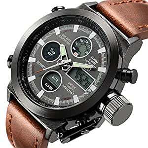 Tamlee Fashion Leather Men s Military Watches Multifunctional Digital Sport Wrist Watch