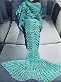 YiZYiF Meerjungfrau Flosse Decke Handgemachte Gestrickte Schlafsack Wohnzimmer Kuscheldecke Decke Kostüm für Erwachsene und Kinder in Größe S, M, L Grün L