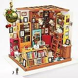 ROBOTIME DIY- Libreria di Legno Kit Casa delle Bambole – Libri Casa Artigianale Costruzioni Kit Fai-Da-Te Libreria Casa delle Bambole – Miniature Mobili Accessori – Per Bambine & Bambini con Luci LED Regalo Creativo (Studio di Sam)