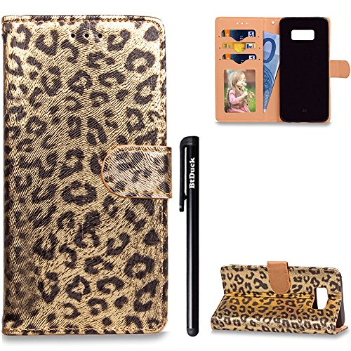 BtDuck Leather Solid color Case Samsung Galaxy S8 + (Plus) Sexy Yellow Leopard Suitable For Suitable For Wealthy Woman Saucy Gorgeous Luxurious Popular Elements Phone Stand Protector Flip Folio Cover Anti-slip Skin Outdoor Protection Simple Strict Shockproof Heavy Duty Robust Bumper Case Shell with Stander Oyster Card ( Travel Card Bus Pass ) Holder Slots Pocket Kickstand Function Magnetic Closure Family Photo Folder + 1 * Black Stylus Pen Black