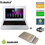 """G-Anica Netbook Ordinateur Portable HDMI écr.10.1""""- (WiFi, Ethernet, 1.5GHz 1Go + 8GO) Tablette - Google Android 4.4.2 -Argenté + Sac d'ordinateur Portable"""