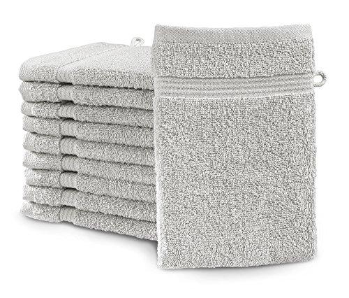 sleepling Castell by Waschhandschuh Waschlappen 10er Set 100% Baumwolle 16 x 21 cm, Silber
