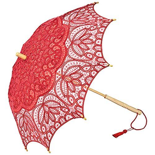 Schirm Vivienne echter Spitzenschirm für Hochzeit Theater Gothic, rot - von Lilienfeld Design