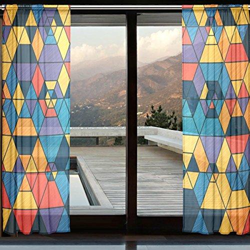Rod Pocket Panel (ALAZA Jahrgang Bunte Dreieck Printed Sheer Fenster und Tür-Vorhang 2 Panels 55