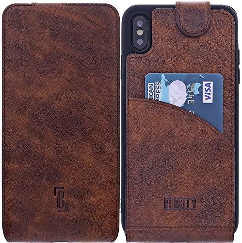 Burkley Lederhülle geeignet für Apple iPhone XS Max Hülle Handyhülle - Schutzhülle Flip Cover Case für das iPhone XS Max mit Kartenfach (Kaffee Braun) Apple Iphone Magnet Flip Case