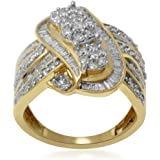 Silvernshine Jewels 1 CT. T. W. Diamante 14k Oro giallo Fn .925 Anello Swirl 3-Cluster Swirl in argento