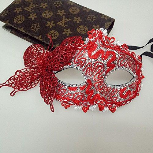 tfxwerws Venezianische Prinzessin Masquerade Maske Kostüm Party Halbmaske Schmetterling Maske (Halbmaske Rote)