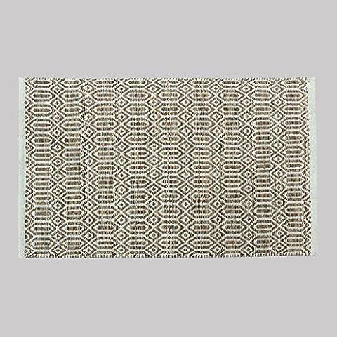 Dormitorio MOREY algodón hecho a mano Colchón puerta Mat puerta de la sala Cama borde del colchón otomanos geométricas simples (marrón) ( Tamaño : 50*80CM
