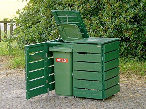 2er Mülltonnenbox / Mülltonnenverkleidung 120 L Holz, Deckend Geölt Tannengrün