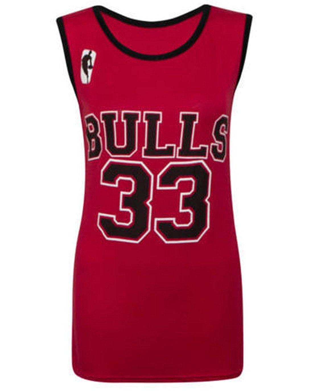 Funky Fashion New Ladies Gym Workout BULLS 33 Varsity Print T Shirt Vest  Brallet 8-14: Amazon.co.uk: Clothing