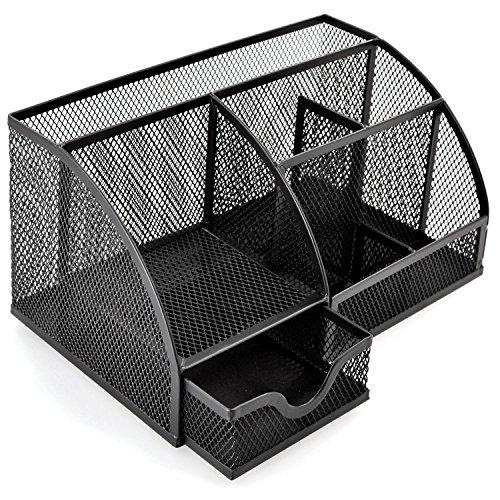 OKPOW Trendyline Schreibtisch-Organizer, Stiftehalter, schwarz, Metallgitter, 6 Fächer, Bürobedarf, für Zuhause oder Büro (Schwarz Schreibtisch-organizer)