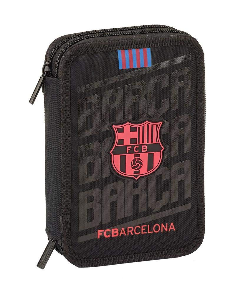 FCB FCBARCELONA- Estuches Unisex Adulto Plumier Doble pequeño 34 Piezas de FC Barcelona 'Black' 411927-054 pqño pcs f.c.Barcelona 13,5×20,5×4,5,, Talla única (SAFTA 1)