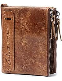 VRLEGEND billetera con tarjetas Carteras para hombre Tarjeteros Carteras Cartera de piel para hombre, color marrón