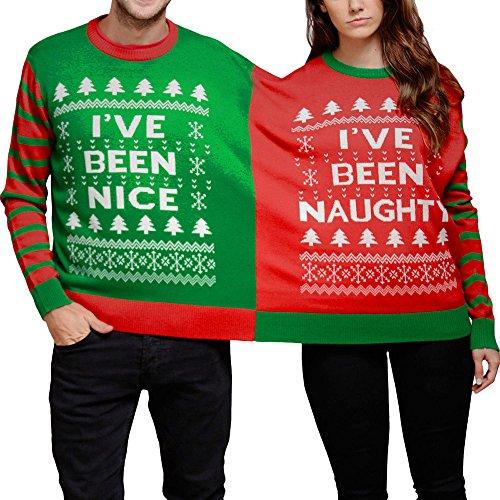 Weihnachtsmänner und frauen Paar vereinigten Pullover Frech und schön Damen und Herren Doppel Weihnachten Pullover Sweatshirt Twin 2 Top Xmas Twosie (XL, Rot) (Hoch Crewneck 50)