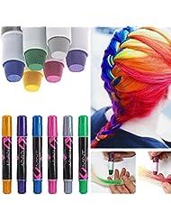6 Couleur Craie Coloration Cheveux Teinture DIY Hair Chalk Cheveux non toxique Temporaires Coloration Cheveux Coloration, Couleurs vive Kit Coloration semi-permanente