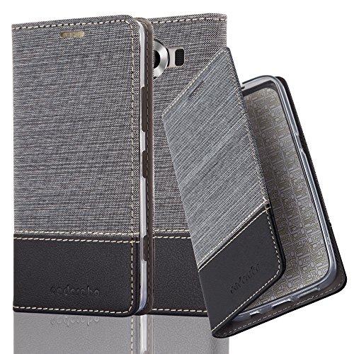 Cadorabo Hülle für Nokia Lumia 950 - Hülle in GRAU SCHWARZ – Handyhülle mit Standfunktion und Kartenfach im Stoff Design - Case Cover Schutzhülle Etui Tasche Book