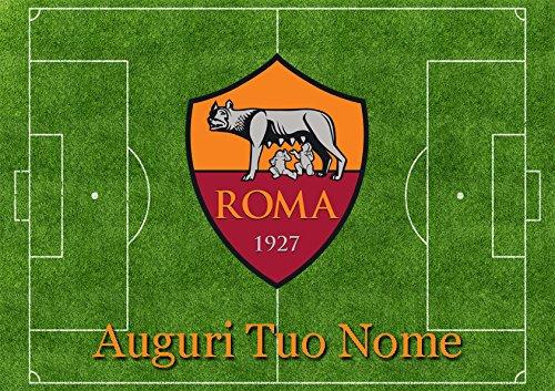 Cialda per Torta CAMPO CALCIO stemma ROMA - da personalizzare - roma001