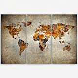 ge Bildet Hochwertiges Leinwandbild XXL - Weltkarte Retro - Weltkarte Leinwand - 120 x 80 cm mehrteilig (3 Teilig)| Wanddeko Wandbild Wandbilder Wohnzimmer deko Bild | 2202 F