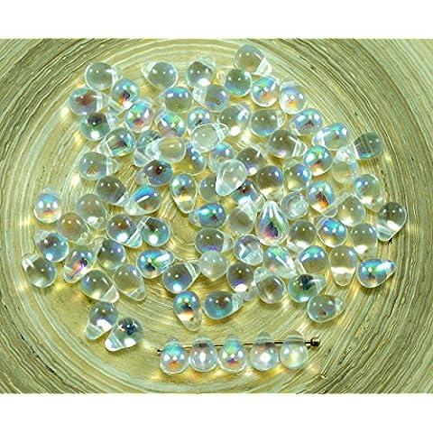 40pcs AB Cristallo di Vetro ceco Piccola Goccia Perline 4mm x 6mm