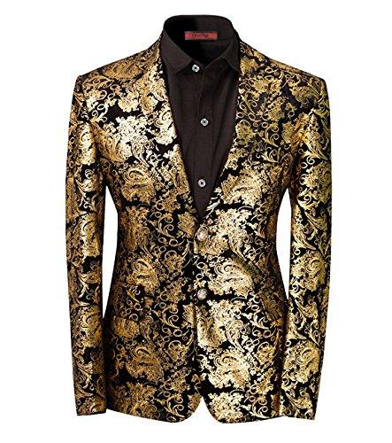 Slim Fit schnitt Herren Sakko Hochzeit Smoking Golden Golden