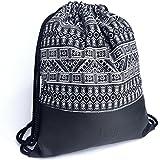 MONi Turnbeutel im Ethnic Design mit verstärktem Kunstleder-Boden (Schwarz-Weiß)