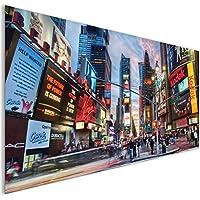 Coloured times Square cartelloni città di New York in vetro acrilico Wall Art XL