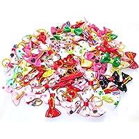 EMVANV 10 lazos de goma, hechos a mano para mascotas, cinta para el pelo, accesorios para el pelo