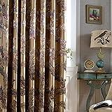SLIAO HOME Luxus Blackout Vorhänge Für Wohnzimmer Pfau Feather Blinds Jacquard-Vorhänge für Schlafzimmer Fenster Schattierung Ready Panels-1PC, 1pc(150x270cm)
