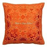 Stylo Culture Indische Spiegel Bestickt Baumwolle Throw Kissenbezug Orange 40 x 40 Star Moon Kissenbezug