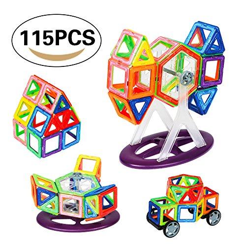 Bloques de Construcción Magnéticos Building Blocks Magnéticas Juegos de Construcción DIY Apilamiento Juguetes Educativos para Los Niños con Caja Plástico 115 Pcs (56 Pedazos de Juegos Magnético)