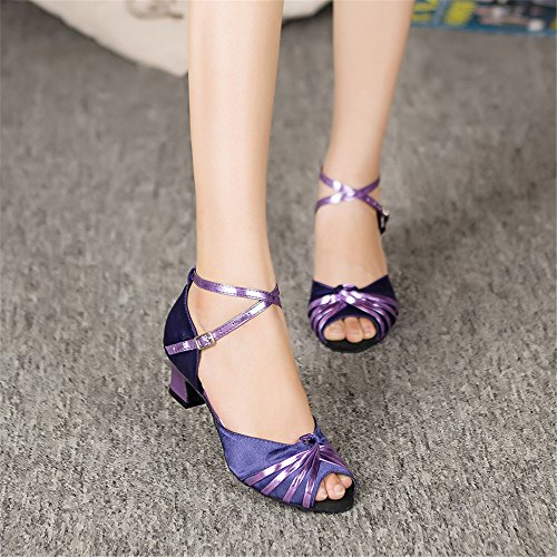 Mesdames Mode Confortable Danse Latine Chaussures Lamba Chapel Chaussures Chrome Bleu 5cm