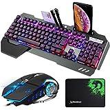 Combo voor gamingtoetsenbord en muis, mechanisch gevoel, bedraad 16 LED RGB USB-toetsenbord met achtergrondverlichting en pol