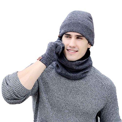 Heekpek® Bufanda Gorro Guantes para Hombre Invierno Regalos para Hombre Mujer Unisexo (Gris claro)