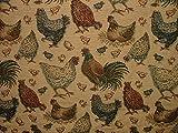 1m Rustikal Tapisserie Huhn Hühner in Gold Vorhang