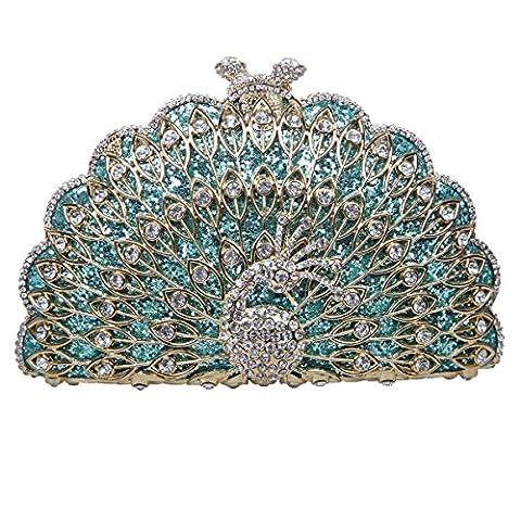 Bonjanvye Metallic Gorgeous Peacock Purse Animal Shape Evening Clutch Bag Mint