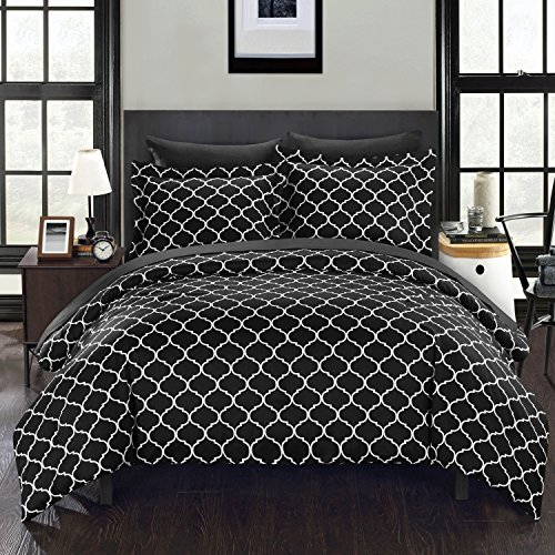 Chic Home 7Stück Heather Geometrische Diamant Bedruckt wendbar King Bett in einem Beutel Tröster Set, grau mit Bogen Set, Mikrofaser, schwarz, King Size - Beutel Mikrofaser In Einem Aus King-size-bett