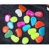 duode tiempo una bolsa de piedras Solar jardín arco iris luminoso piedras guijarros para peces Walkway decoración (colorido)