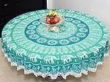 #10: Rajaveer Garments 100% Pure Cotton Sun Art Elephant Mandala Round Table Cover / Table Cloth Wall Hanging Tapestry Yoga Mat Beach Mat 78 inch