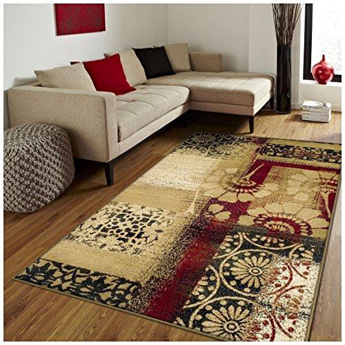 Superior Patchwork Collection Teppich, florales und geometrisches Patchwork-Design, 10 mm Florhöhe mit Jute-Rückseite, erschwingliche Moderne Teppiche Modern 2' x 3' Mehrfarbig -