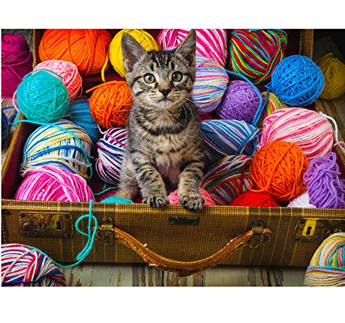 JINLXG 5D DIY Full Drill Pictures Cross Stitch Kitty and Yarn Ball Embroidery Rhinestone Mosaic Home Decoration 40X50 cm Frameless -